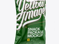 Glossy Snack Package Mockup - Halfside View