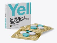 Tablet Blisters & Paper Box Mockup - Halfside View