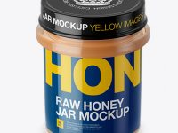 Glass Raw Honey Jar Mockup (High-Angle Shot)