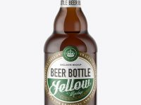 330ml Amber Glass Bottle with Light Beer Mockup