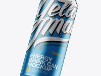 500ml Aluminium Can With Metallic Finish Mockup