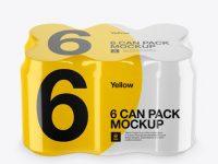 Pack with 6 Alminium Cans Mockup