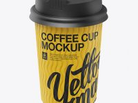 Matte Coffee Cup Mockup - Halfside View (High-Angle Shot)