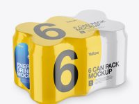 Pack with 6 Alminium Cans Mockup - Halfside View