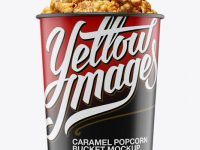Glossy Bucket with Caramel Popcorn Mockup - Front View