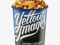 Glossy Bucket with Caramel Popcorn Mockup - High-Angle Shot