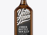 Square Amber Glass Bottle With Liquor Mockup