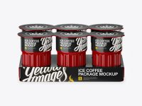 Glossy Ice Coffee 6  K-Cups Pack Mockup - Front View (High-Angle Shot)