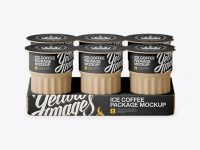 Matte Ice Coffee 6 K-Cups Pack Mockup - Front View (High-Angle Shot)