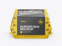 Paper Burger Box Mockup - Front View (High-Angle Shot)