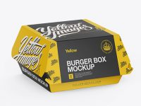 Paper Burger Box Mockup - Halfside View (High-Angle Shot)