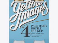 4 Pack Glossy Dairy Bottle Mockup - Front View