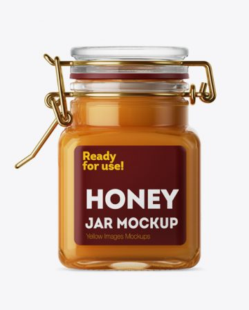 100ml Glass Raw Honey Jar w/ Clamp Lid Mockup