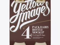 4 Pack Matte Dairy Bottle Mockup - Front View