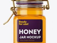 100ml Glass Pure Honey Jar w/ Clamp Lid Mockup