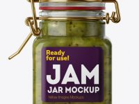100ml Glass Kiwi Jam Jar w/ Clamp Lid Mockup