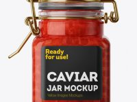 100ml Glass Red Caviar Jar w/ Clamp Lid Mockup