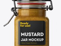100ml Glass Mustard Jar w/ Clamp Lid Mockup