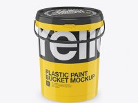 Glossy Plastic Bucket Mockup - Front View (High Angle)