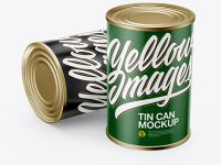 Two Tin Cans With Paper Label Mockup