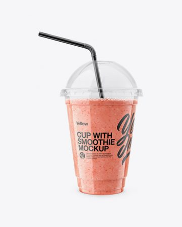 Raspberry, Strawberry & Apple Smoothie Cup with Straw Mockup
