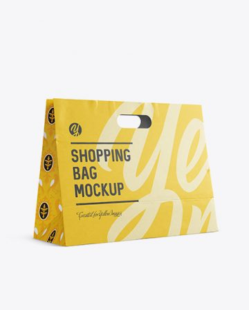 Paper Shopping Bag Mockup - Halfside View (Eye-Level Shot)