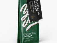 Matte Kraft Coffee Bag With Label Mockup - Half Side View