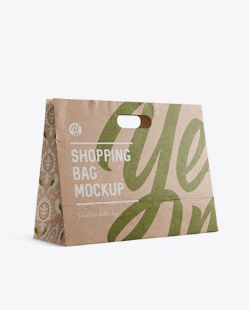 Kraft Paper Shopping Bag Mockup - Halfside View (Eye-Level Shot)