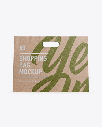 Kraft Paper Shopping Bag Mockup - Front View
