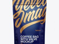 Matte Coffee Bag W/ Valve Mockup - Front View