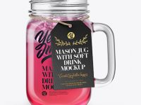 Opened Mason Jug with Fruit Drink Mockup - Front View