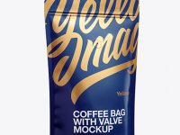 Matte Coffee Bag W/ Valve Mockup - Half Side View