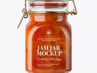 900ml Apricot Jam Glass Jar w/ Clamp Lid Mockup