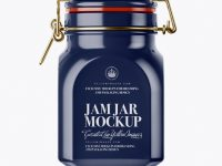 900ml Glossy Ceramic Jam Jar w/ Clamp Lid Mockup