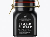 900ml Matte Ceramic Jam Jar w/ Clamp Lid Mockup
