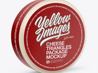 16 Cheese Triangles Package Mockup - Half Side View