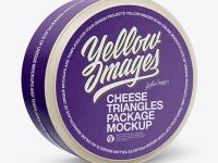24 Cheese Triangles Package Mockup - Half Side View