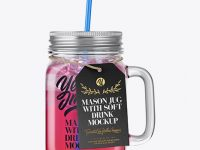 Closed Mason Jug with Straw and Label Mockup (Fruit Drink) - Front View