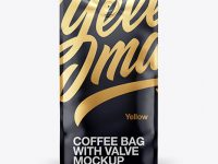 16oz Glossy Coffee Bag Mockup - Front View