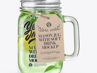 Opened Mason Jug with Mojito Mockup