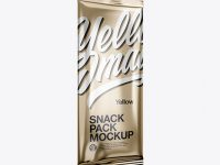 Metallic Snack Pack Mockup - Half Side View