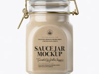 900ml Cesar Sauce Glass Jar w/ Clamp Lid Mockup