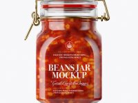 900ml Mexican Beans Glass Jar w/ Clamp Lid Mockup