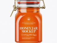 900ml Pure Honey Glass Jar w/ Clamp Lid Mockup