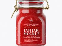 900ml Raspberry Jam Glass Jar w/ Clamp Lid Mockup