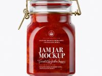 900ml Strawberry Jam Glass Jar w/ Clamp Lid Mockup