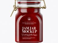 900ml Berry Jam Glass Jar w/ Clamp Lid Mockup