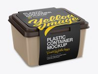 Matte Plastic Container With Paper Label Mockup - Half Side View