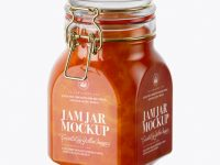 900ml Apricot Jam Glass Jar w/ Clamp Lid Mockup - Half Side View