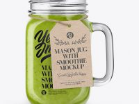 Opened Mason Jug with Green Smoothie Mockup